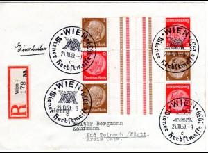 DR Ostmark 1939, Bogenteil Kehr-Zusammendrucke, 6 Marken auf Reko Brief v. Wien