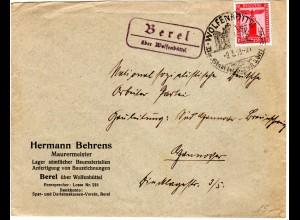 DR 1938, Landpost Stpl. BEREL über Wolfenbüttel auf Brief m. 12 Pf. Dienst
