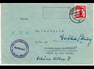 DR 1940, Landpost Stpl. WILHELMSTHAL über Eisenach auf Brief m. 12 Pf. Dienst