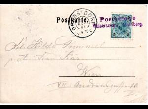 Österreich 1903, L2 Postablage Walserschanz klar auf entsprechender AK m. 5 H.
