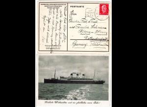 Deutsche Schiffspost Hamburg Südamerika Cap Polonio H.S.D.G. auf Karte m. 15 Pf.