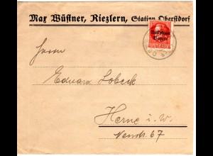 Österreich Bayern, Kleinwalsertal Brief v. Riezlern m. 15 Pf. v. Oberstdorf