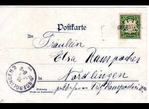 Bayern 1900, L2-Aushilfstempel OBERSTORF auf Litho-AK m. 5 Pf. n. Nördlingen