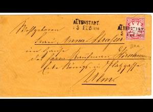 Bayern 1879, 10 Pf. Ganzsachen-Ausschnitt auf Brief m. Aushilfstempel ALTENSTADT