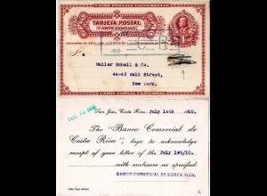 Costa Rica 1910, gebr. 4 C. Ganzsache m. rücks. Bank Zudfruck