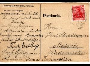 DR 1914, Deutsche Seepost Linie Hamburg New-York XVIII auf Karte m. 10 Pf.