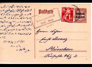 Bayern 1920, Posthilfstelle LENGENFELD Taxe Waal auf Ganzsache m. Zusatzfr.