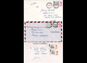 Bahamas, 3 Briefe, davon 2 m. Überdruckmarken.