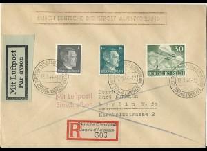 DR 1944, Dienstpost Alpenvorland Einschreiben Brief v. Cortina d´Ampezzo. #2574