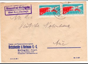 DDR 1961, Landpost Stpl. BLAUENTHAL-WOLFSGRÜN über Aue 1 auf Brief m. 2x10 Pf.