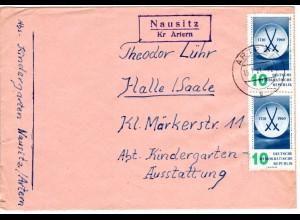 DDR 1961, Landpost Stpl. NAUSITZ über Artern auf Brief m. 2x10 Pf.