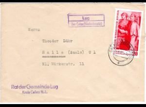 DDR 1960, Landpost Stpl. LUG über Calau (Niederlausitz) auf Brief m. 20 Pf.