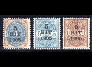 Dänisch Westindien, DWI, kpl. postfrische Ausgabe v. 3 Überdruckwerten 1905.