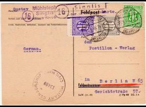 1946, Landpoststempel 16 SINGLIS über Borken auf Zensur Karte n. Berlin