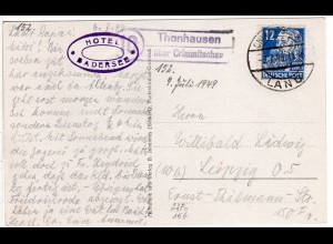 SBZ 1949, Landpoststempel 10 THONHAUSEN über Crimmitschau auf Karte m. 12 Pf.