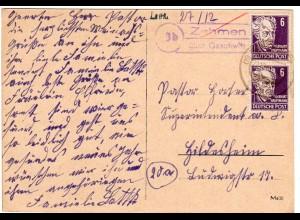 SBZ 1949, Landpoststempel 10b ZEHMEN über Gaschwitz auf Karte m. 2x6 Pf.