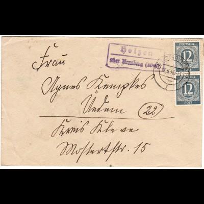 1946, Landpoststempel HOLZEN über Arnsberg auf Brief m. 2x12 Pf.