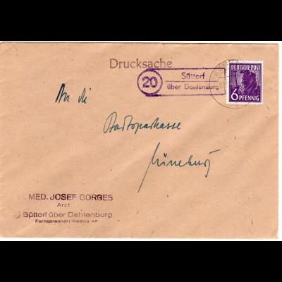 1948, Landpoststempel 20 SÜTTORF über Dahlenburg auf Drucksache Brief m. 6 Pf.
