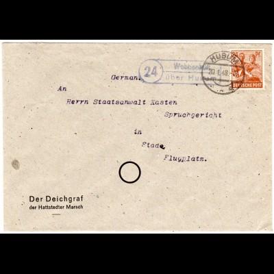 1948, Landpoststempel 24 WOBBENBÜLL über Husum auf Deichgraf Brief m. 24 Pf.