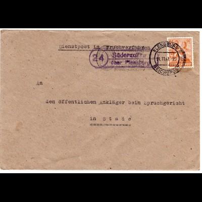 1947, Landpoststempel 24 SÜDERZOLLHAUS über Flensburg auf Dienst Brief m. 24 Pf.