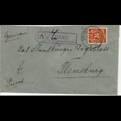 1947, Landpoststempel 24b HÖGEL über Bredstedt auf Brief m. 24 Pf.