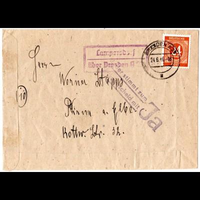 1946, Landpoststpl LAMPERSDORF über Dresden auf Brief m. 24 Pf.+Propaganda Stpl.