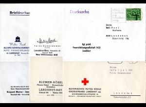 BRD, 6 Belege Landshut, je m. Absenderzudruck, u.a. Feuerschützen, Rotes Kreuz