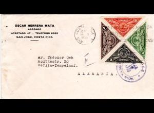 Costa Rica 161/64, 4 Dreiecksmarken zur Briefmarkenausstellung kpl. auf Brief