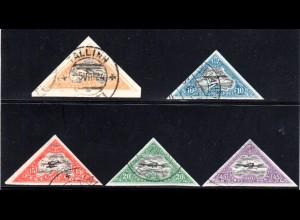 Estland 48-52, 5 Werte Luftpost Dreiecksmarken, kpl. gest. Satz