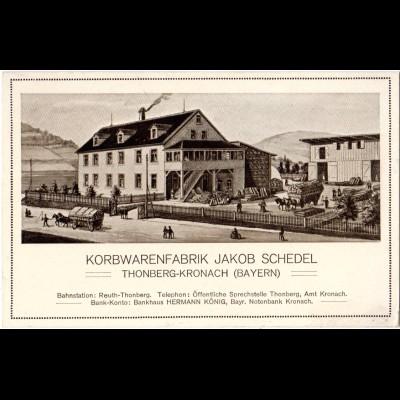 Thonberg-Kronach, Korbwarenfabrik J. Schedel, ungeb. sw-AK Gebäude u. Fuhrwerken