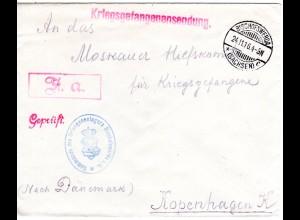 DR 1916, KGF POW Zensur Brief v. Bischofswerda Sachsen n. Dänemark.