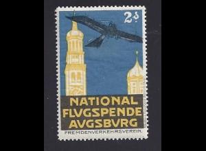 National Flug Spende Augsburg, Vignette m. Flugzeug. #1260