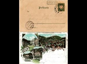 Bayern 1898, Stations-R1 BERNECK.Bhf. auf AK m. 5 Pf. u. Bahnpost-K1 Goldmühl-N.