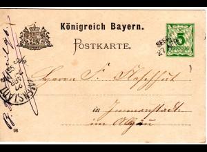 Bayern 1896, L2- Aushilfstempel SEEG auf 5 Pf. Ganzsache v. Rindegg.