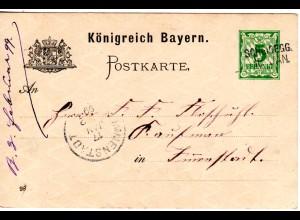 Bayern 1899, L2- Aushilfstempel SCHEIDEGG auf 5 Pf. Ganzsache.