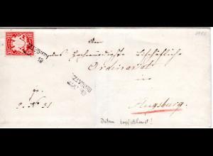 Bayern 1880, L2- Aushilfstempel HERGATZ m. kopfsteh. Datum auf Brief m. 10 Pf.