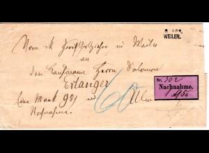 Bayern 1887, L2- Aushilfstempel WEILER auf Nachnahme Brief n. Erlangen