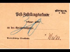 Bayern 1889, L2- Aushilfstempel RÖTHENBACH auf kpl. Post-Zustellungsurkunde