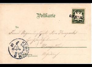Bayern 1900, L2- Aushilfstempel OBERSTORF auf Farb-AK Freibergsee m. 5 Pf.