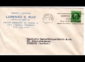 Cuba 1932, Compre Azucar, Zucker-Werbestpl. auf Brief v. Havanna i.d. Schweiz