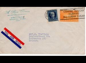 Cuba 1948, Compre Azucar, Zucker-Werbestpl. auf Luftpostbrief v. Havanna i.d. NL