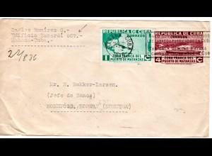 Cuba 1936, Tabak/Zigarren-Werbestpl. auf Bacardi Brief v. Havanna n. Norwegen