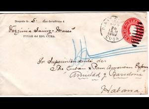 Cuba 1902, 2 C. Ganzsache Brief v. PINAR DEL RIO n. Havanna