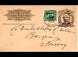 Cuba 1909, 1 C. Zusatzfr. auf 1 C. Ganzsache v. BARACOA n. Norwegen.