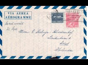 Cuba 1957, 1 C. Zusatzfr. auf 10 C. Aerogramm Ganzsache v. BARRERAS n. NL