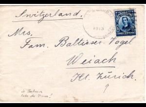 Cuba 1913, 5 C. auf Brief v. Santa Barbara Isla De Pinos i.d. Schweiz
