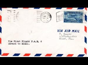 Cuba 1929, 5 C. Sevicio Aereo auf Erstflug Brief Havanna-Miami, USA