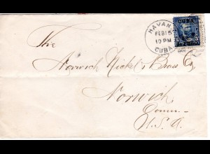 Cuba 1900, 5 C./5 C. US auf Brief v. Havanna n. Norwich, USA