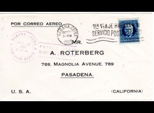 Cuba 1927, 5 C. auf Erstflug Brief Havanna-Key West, USA