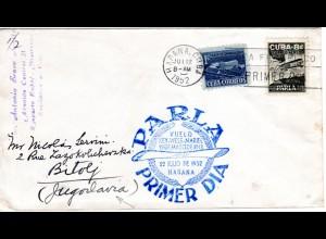 Cuba 1952, 1 C.+ 8 C. Parlá auf Ersttagsbrief Brief m. Flug Erinnerungsstempel
